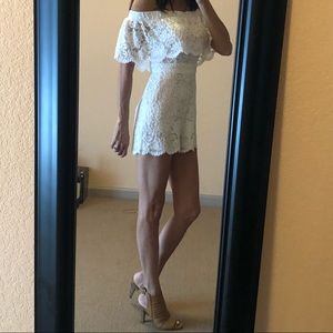 Bebe lined lace white romper